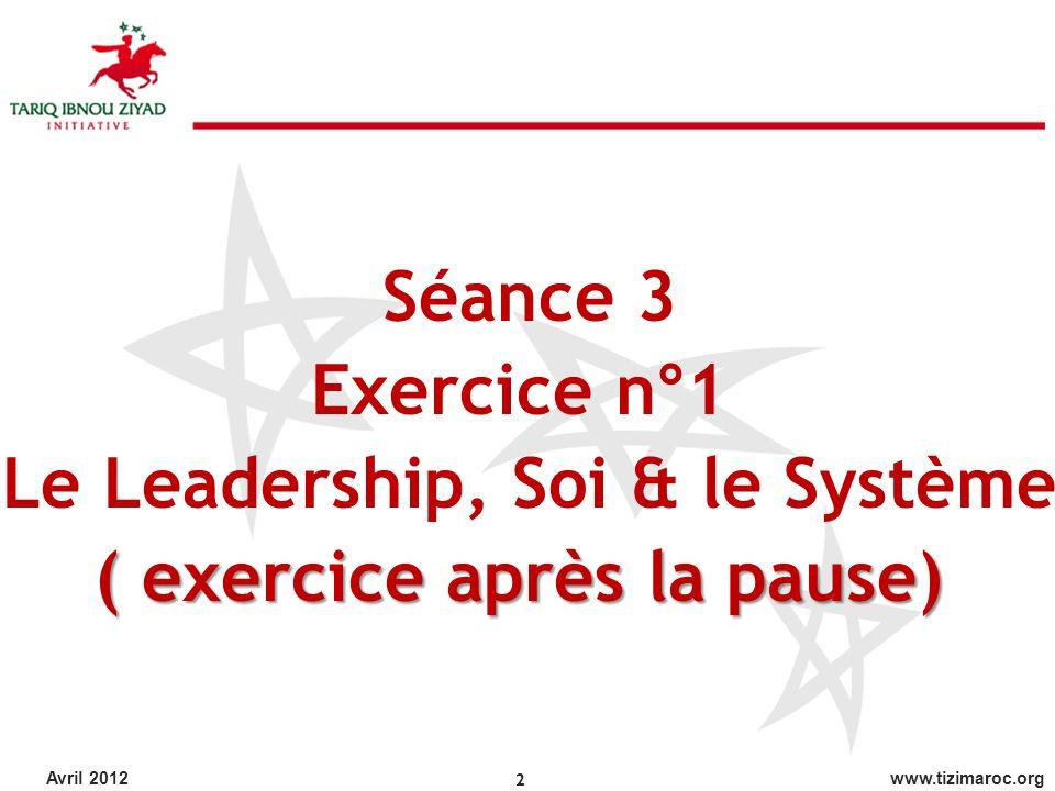 Le Leadership, Soi & le Système ( exercice après la pause)