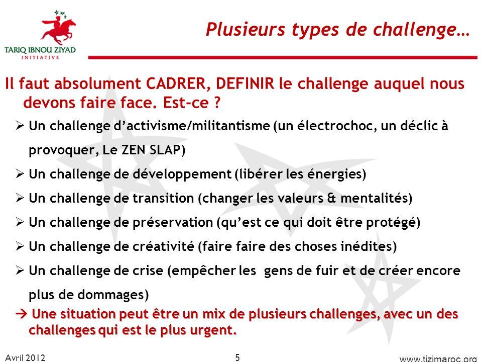 Plusieurs types de challenge…