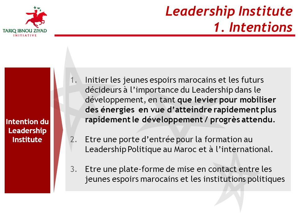 Intention du Leadership Institute
