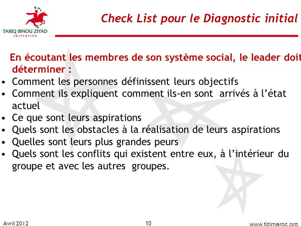 Check List pour le Diagnostic initial