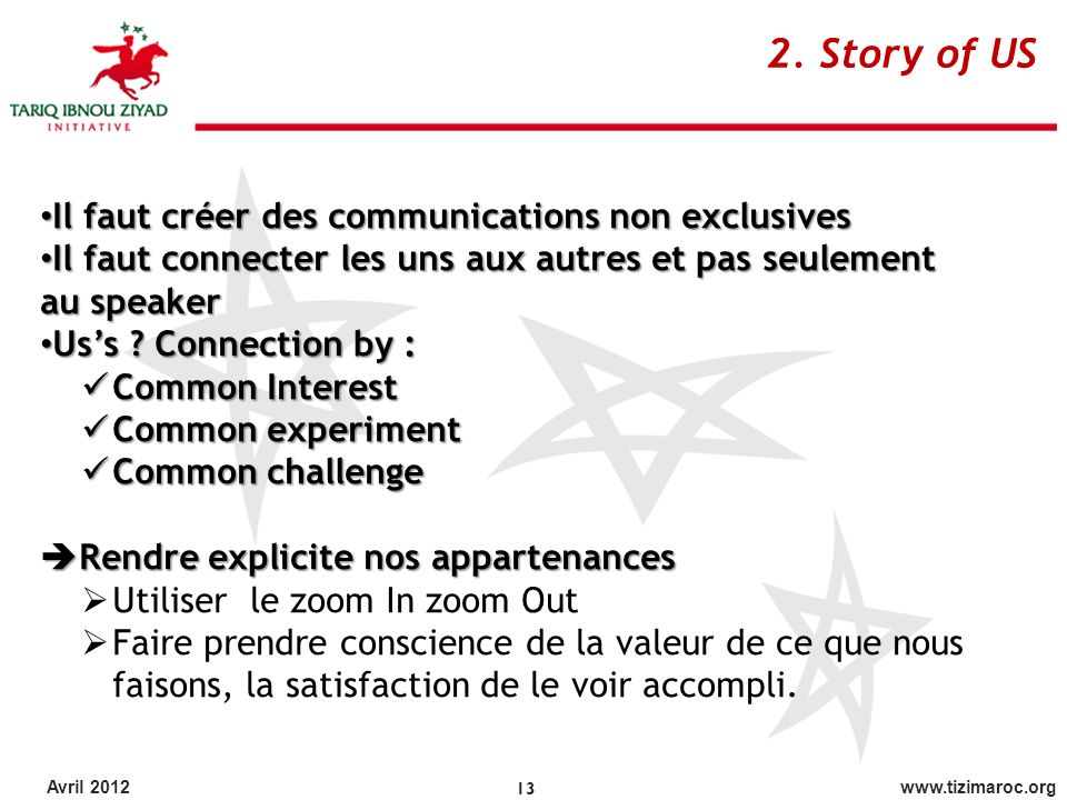 2. Story of US Il faut créer des communications non exclusives