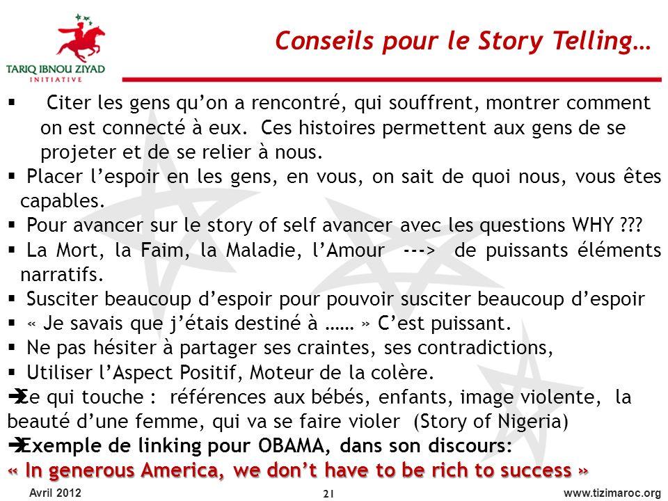 Conseils pour le Story Telling…