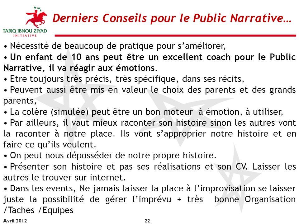 Derniers Conseils pour le Public Narrative…