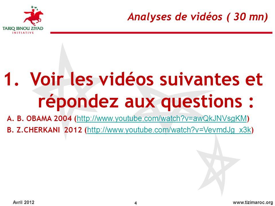 Voir les vidéos suivantes et répondez aux questions :