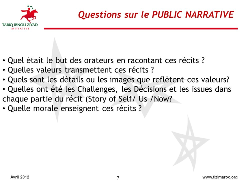 Questions sur le PUBLIC NARRATIVE