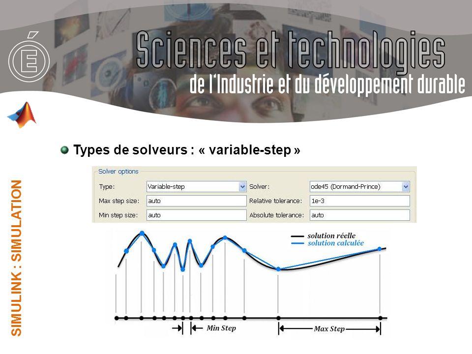 Types de solveurs : « variable-step »