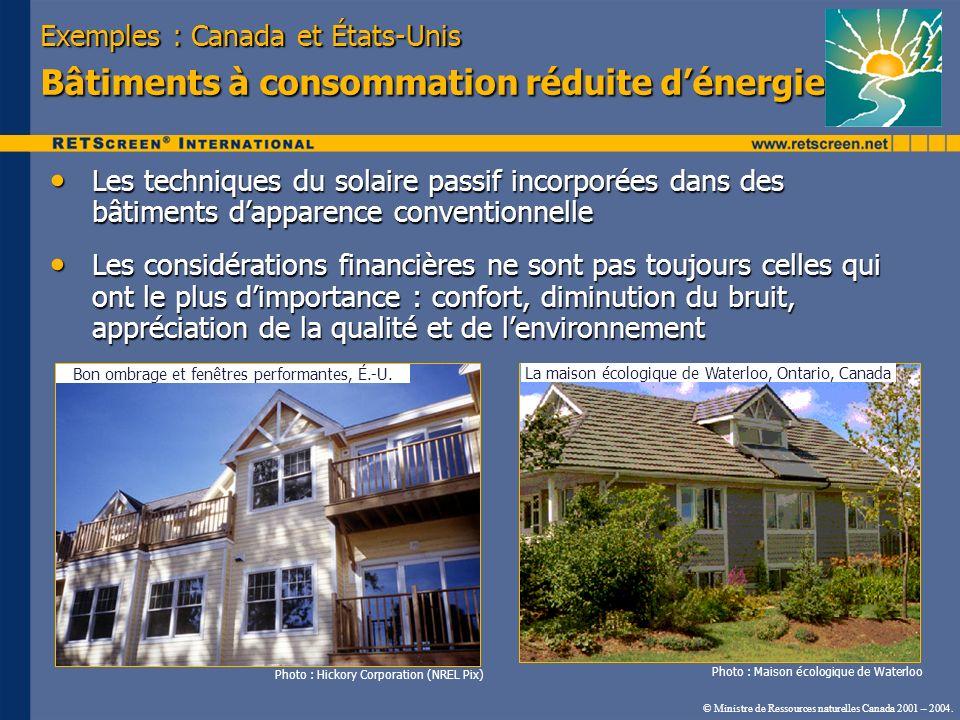 Exemples : Canada et États-Unis Bâtiments à consommation réduite d'énergie