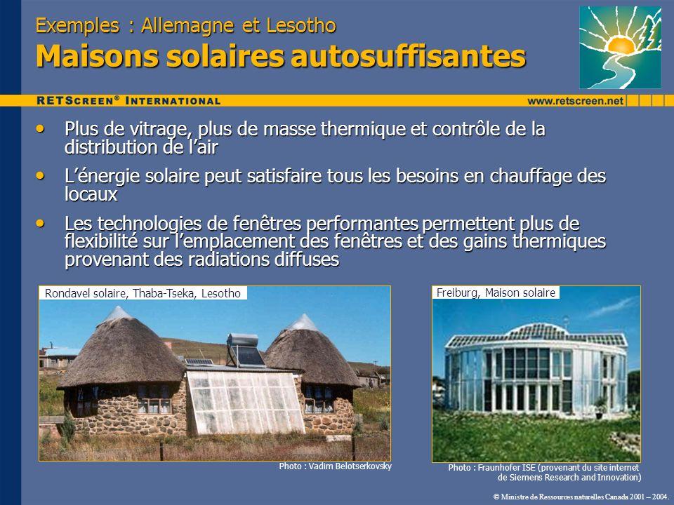 Exemples : Allemagne et Lesotho Maisons solaires autosuffisantes