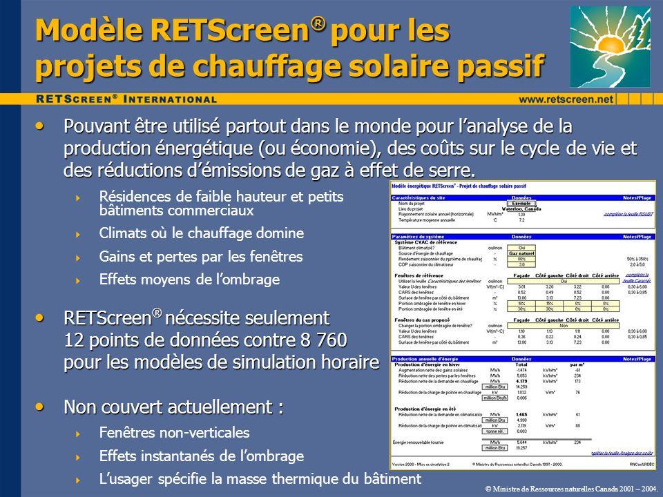 Modèle RETScreen® pour les projets de chauffage solaire passif