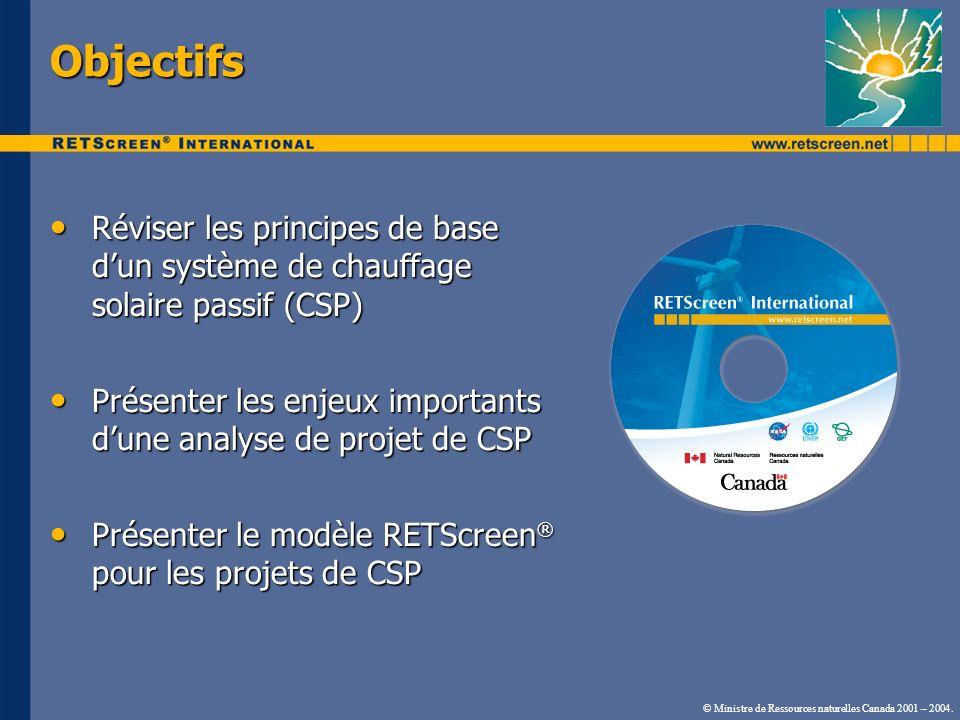 Objectifs Réviser les principes de base d'un système de chauffage solaire passif (CSP)