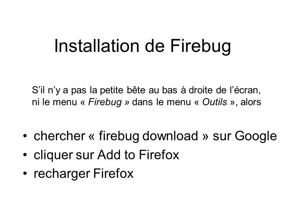 Installation de Firebug