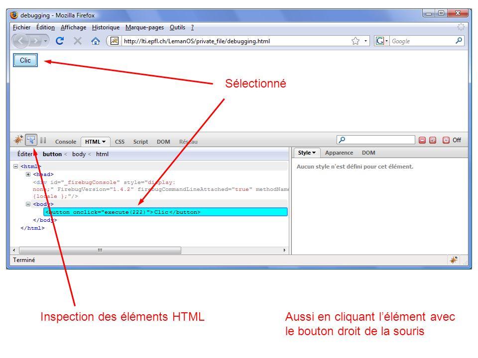 Sélectionné Inspection des éléments HTML. Aussi en cliquant l'élément avec.