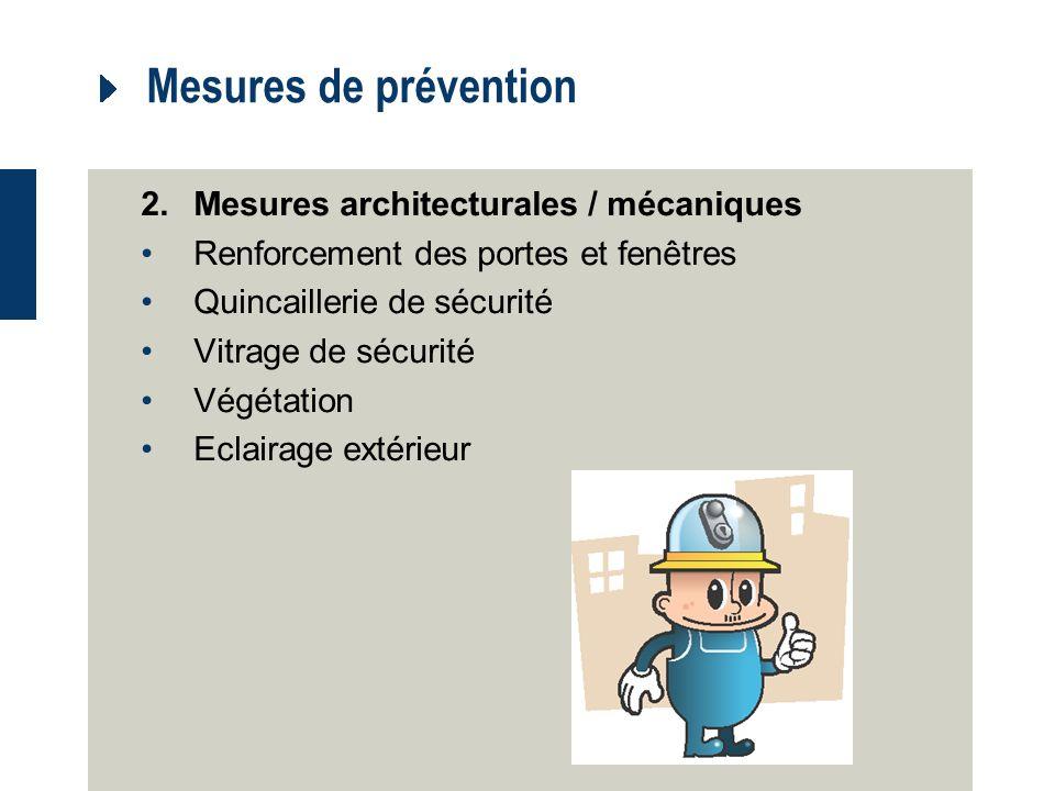 Mesures de prévention 2. Mesures architecturales / mécaniques