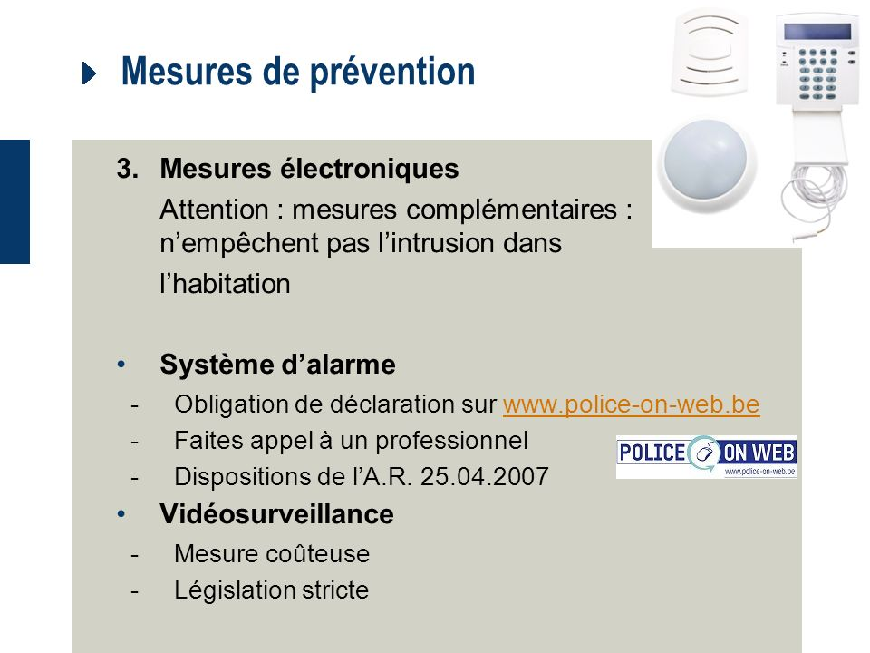 Mesures de prévention 3. Mesures électroniques