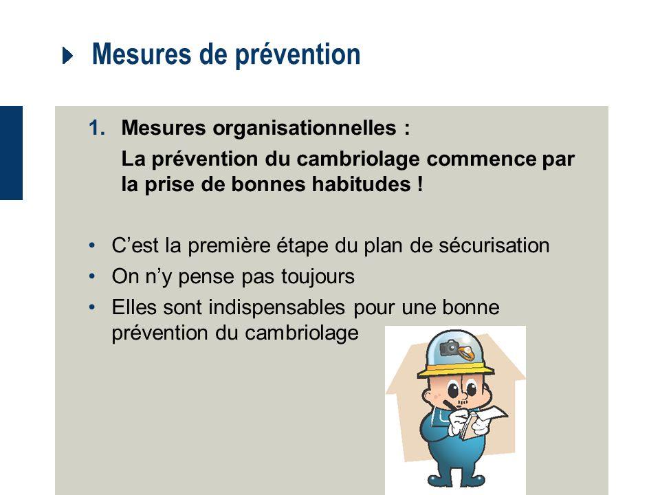Mesures de prévention Mesures organisationnelles :