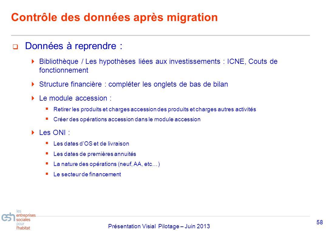 Contrôle des données après migration