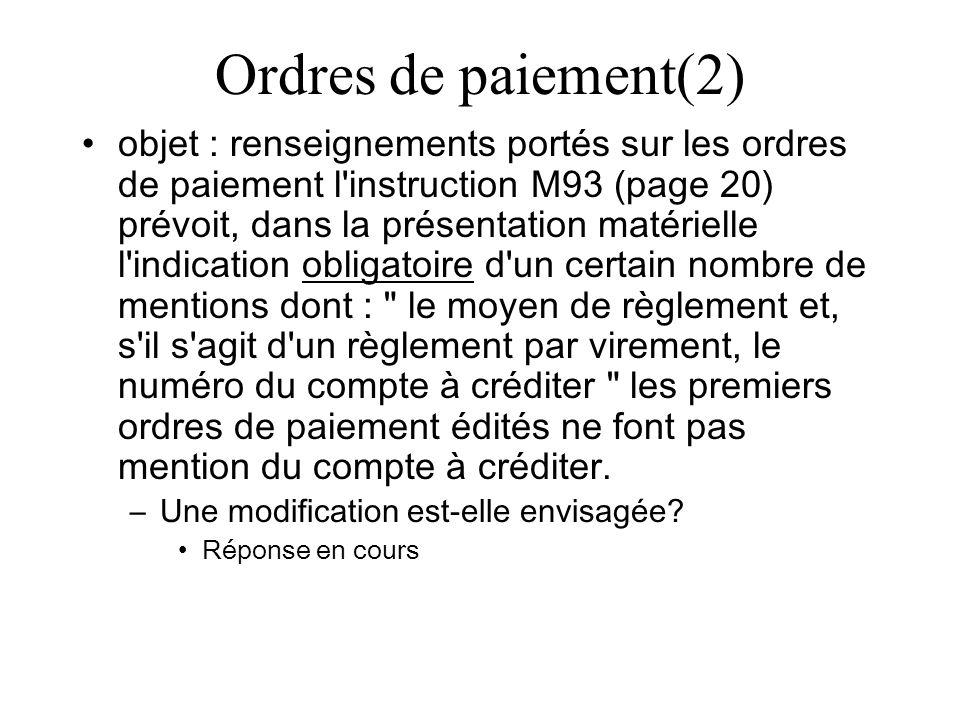 Ordres de paiement(2)