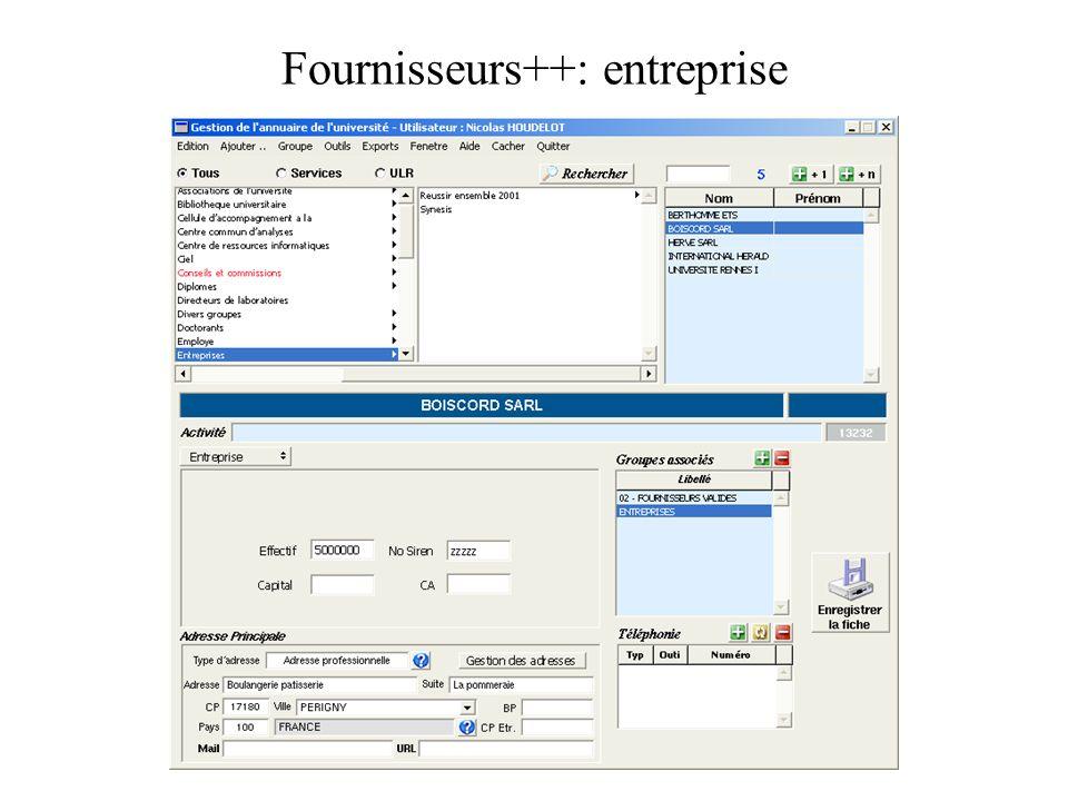 Fournisseurs++: entreprise