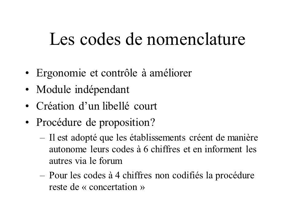 Les codes de nomenclature