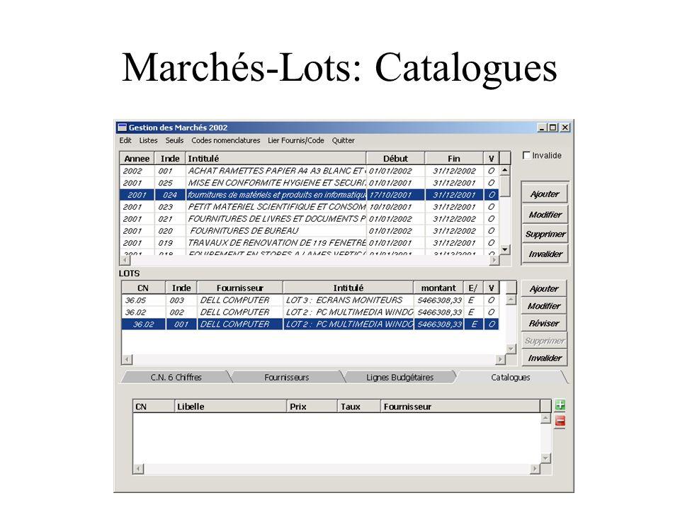 Marchés-Lots: Catalogues