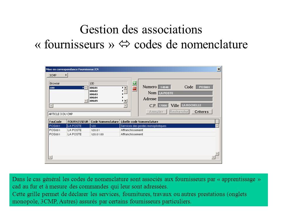 Gestion des associations « fournisseurs »  codes de nomenclature