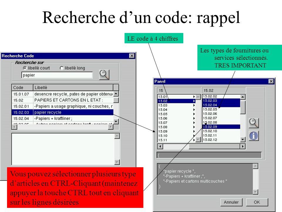Recherche d'un code: rappel