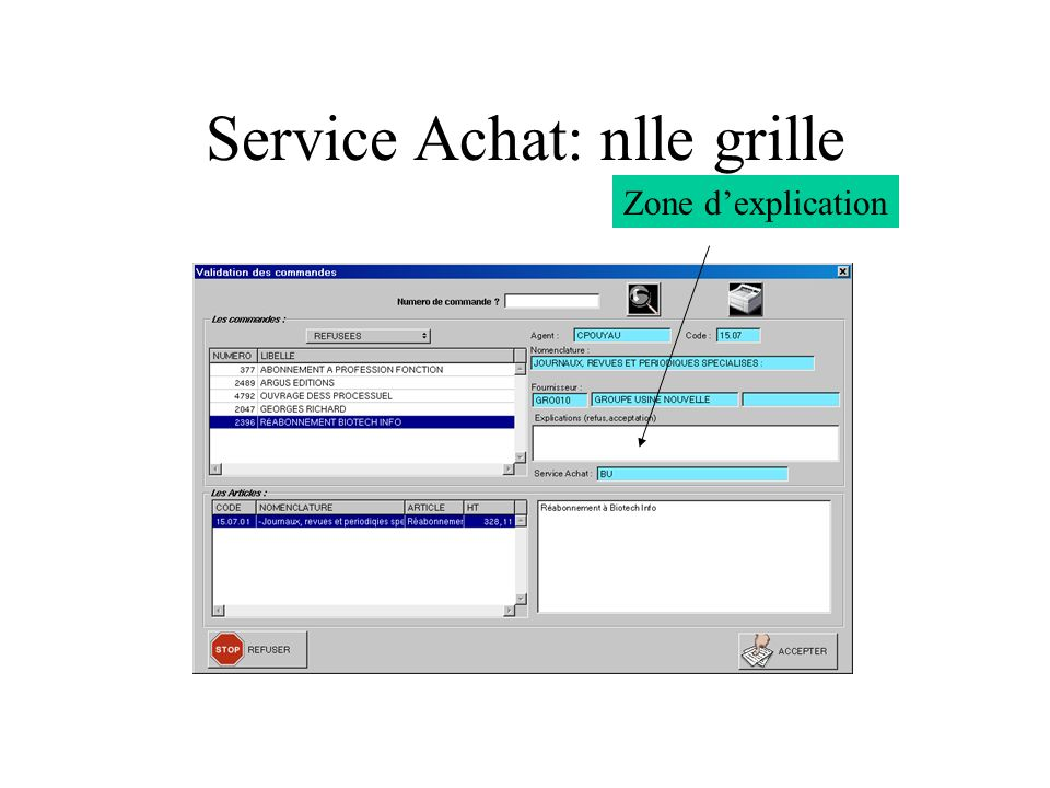 Service Achat: nlle grille