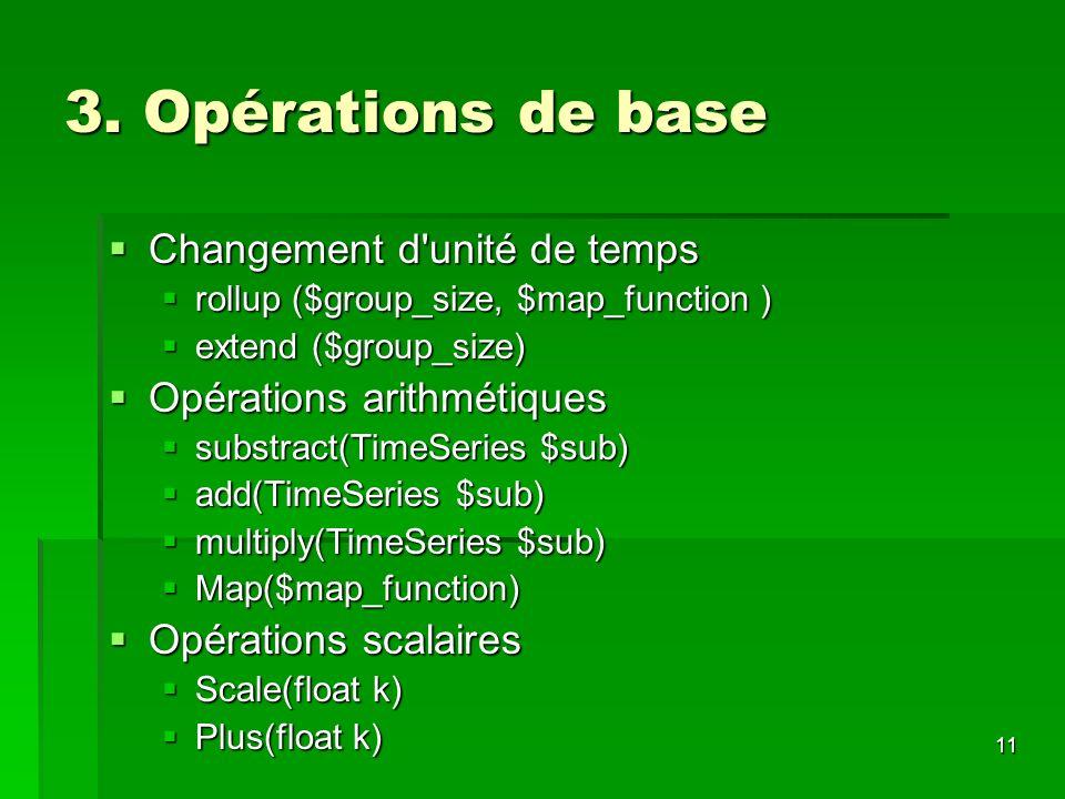 3. Opérations de base Changement d unité de temps