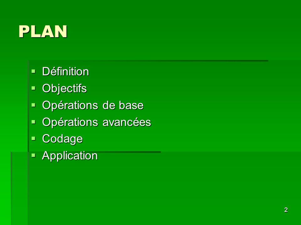 PLAN Définition Objectifs Opérations de base Opérations avancées