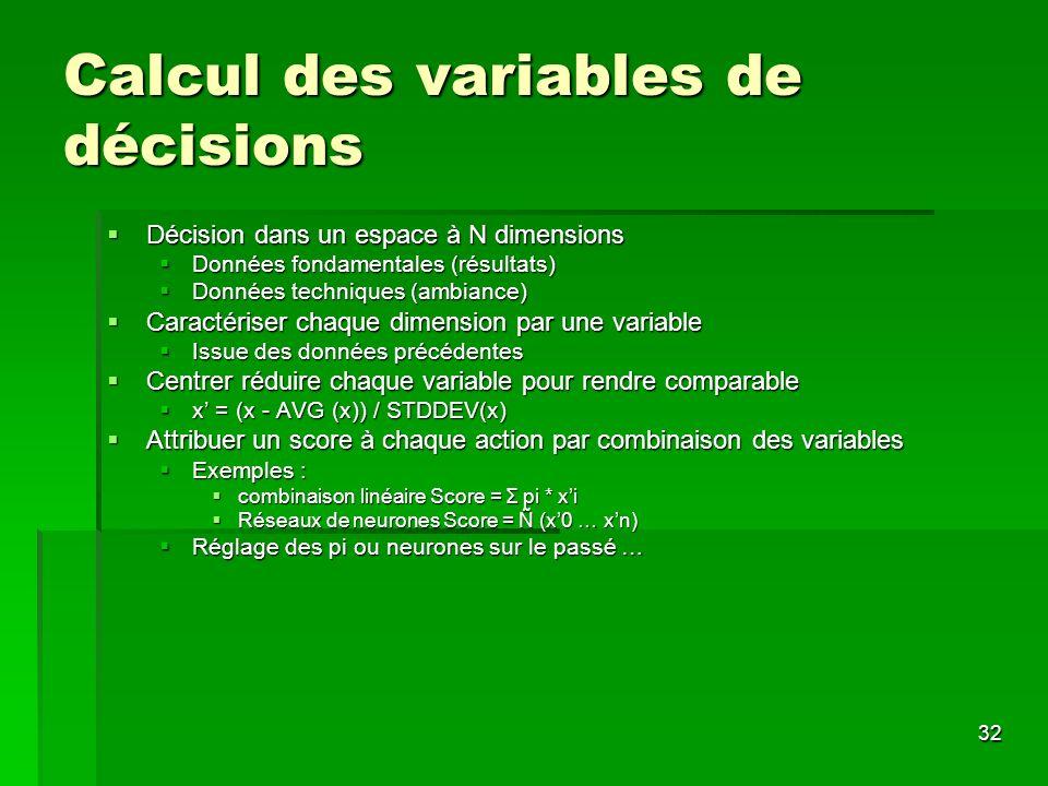 Calcul des variables de décisions