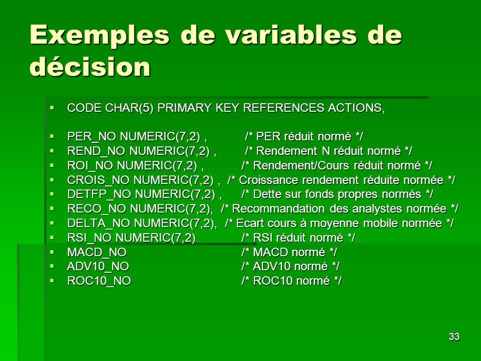 Exemples de variables de décision