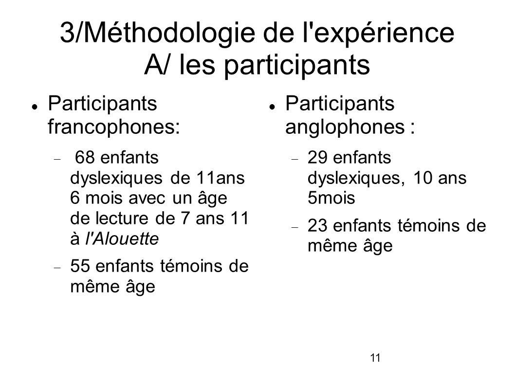 3/Méthodologie de l expérience A/ les participants
