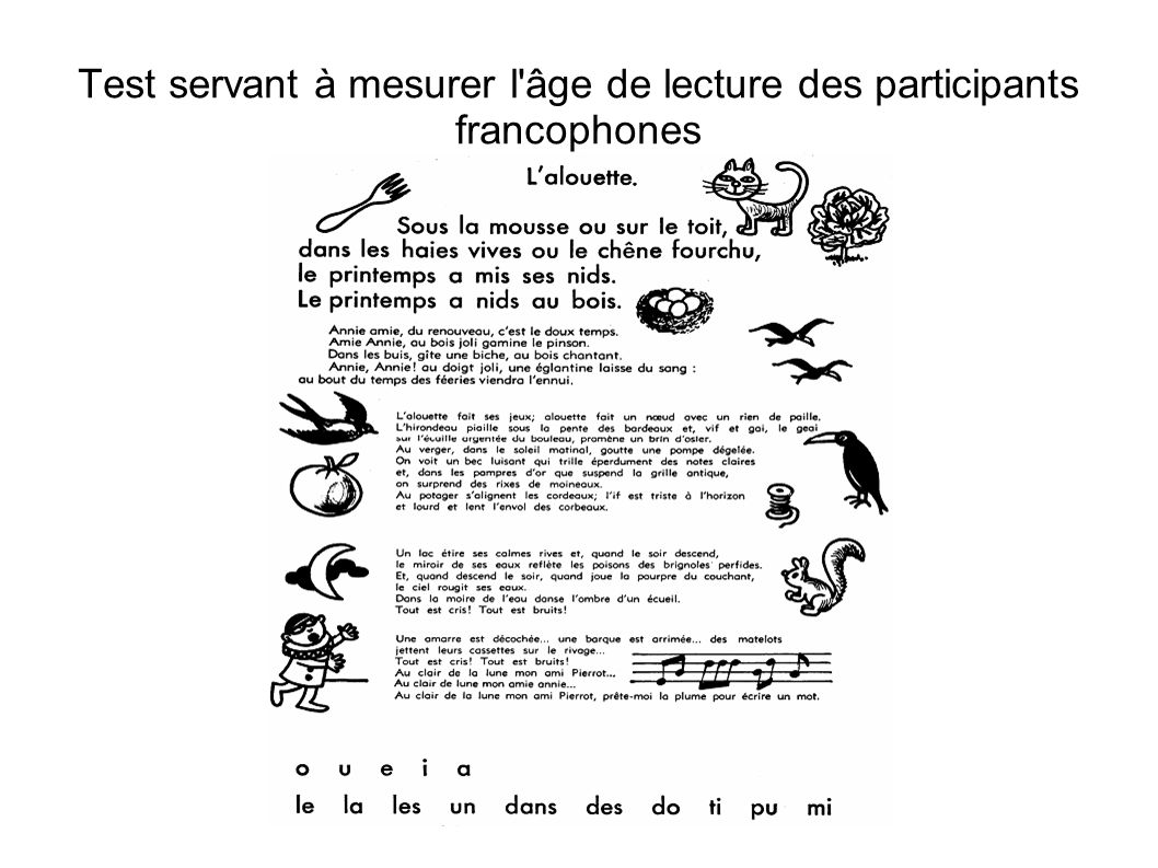 Test servant à mesurer l âge de lecture des participants francophones