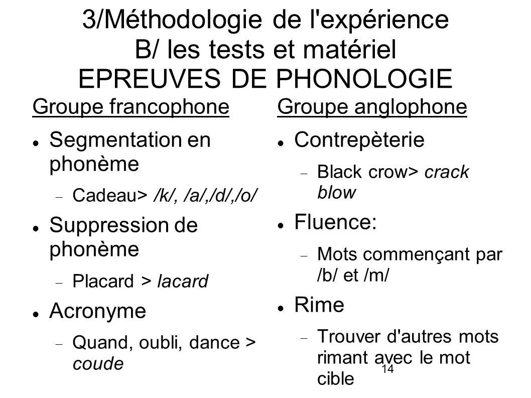 3/Méthodologie de l expérience B/ les tests et matériel EPREUVES DE PHONOLOGIE