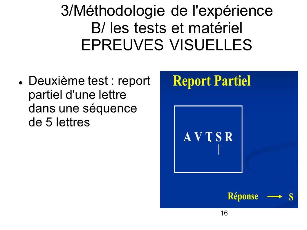 3/Méthodologie de l expérience B/ les tests et matériel EPREUVES VISUELLES