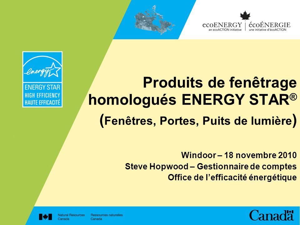 Produits de fenêtrage homologués ENERGY STAR® (Fenêtres, Portes, Puits de lumière)
