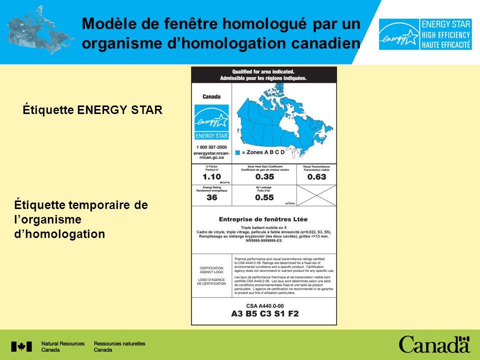 Modèle de fenêtre homologué par un organisme d'homologation canadien