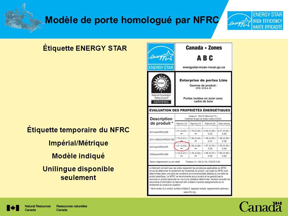Modèle de porte homologué par NFRC