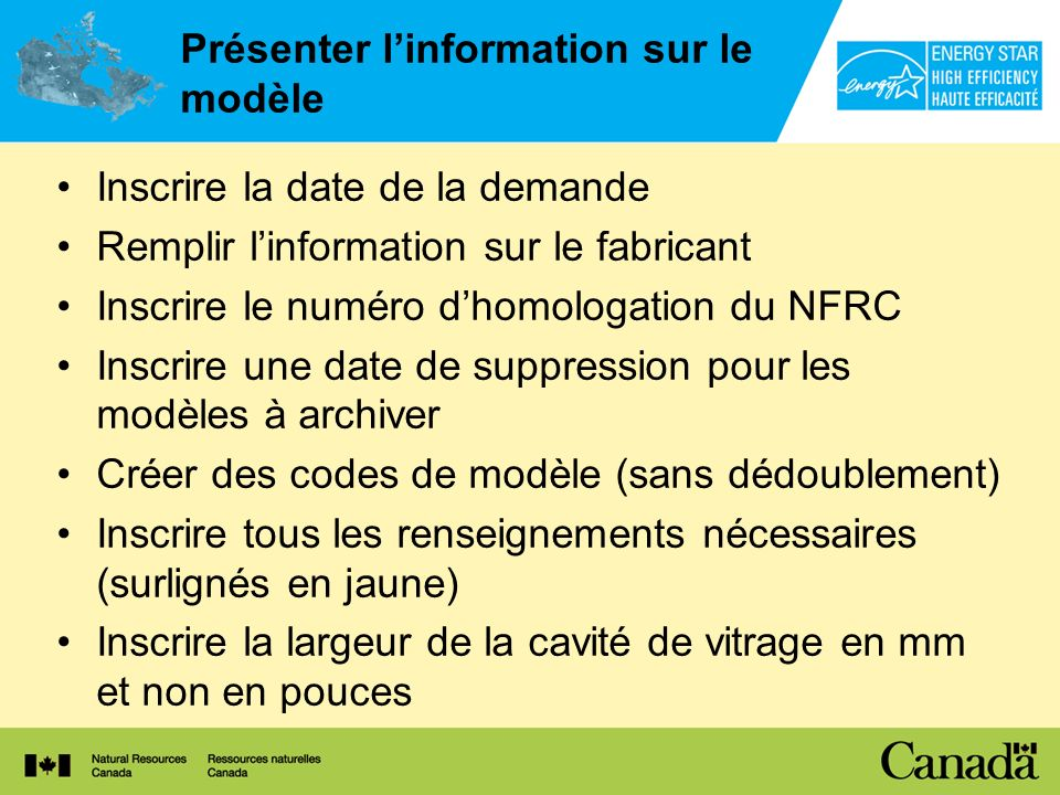 Présenter l'information sur le modèle