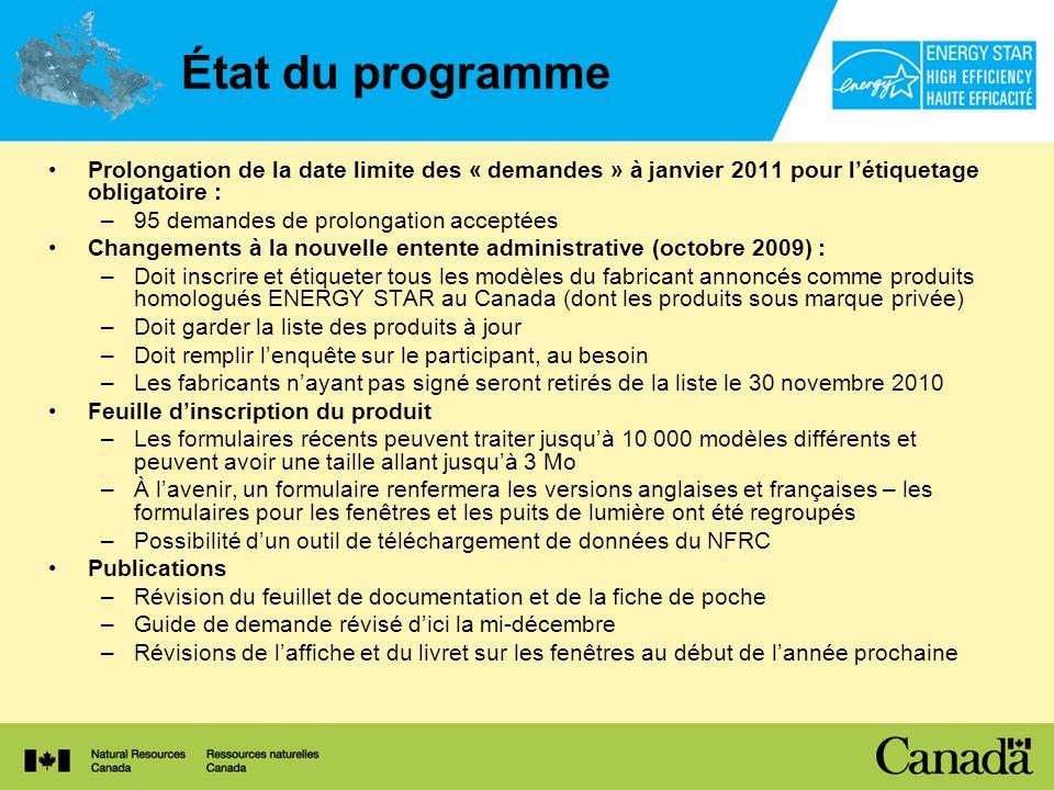 État du programme Prolongation de la date limite des « demandes » à janvier 2011 pour l'étiquetage obligatoire :