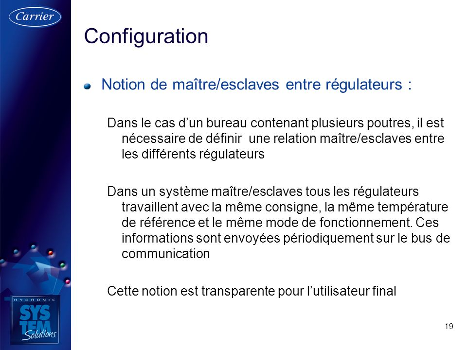 Configuration Notion de maître/esclaves entre régulateurs :