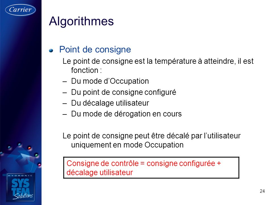 Algorithmes Point de consigne