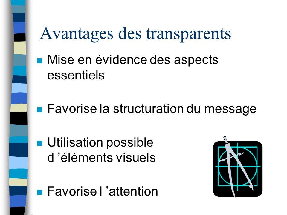 Avantages des transparents