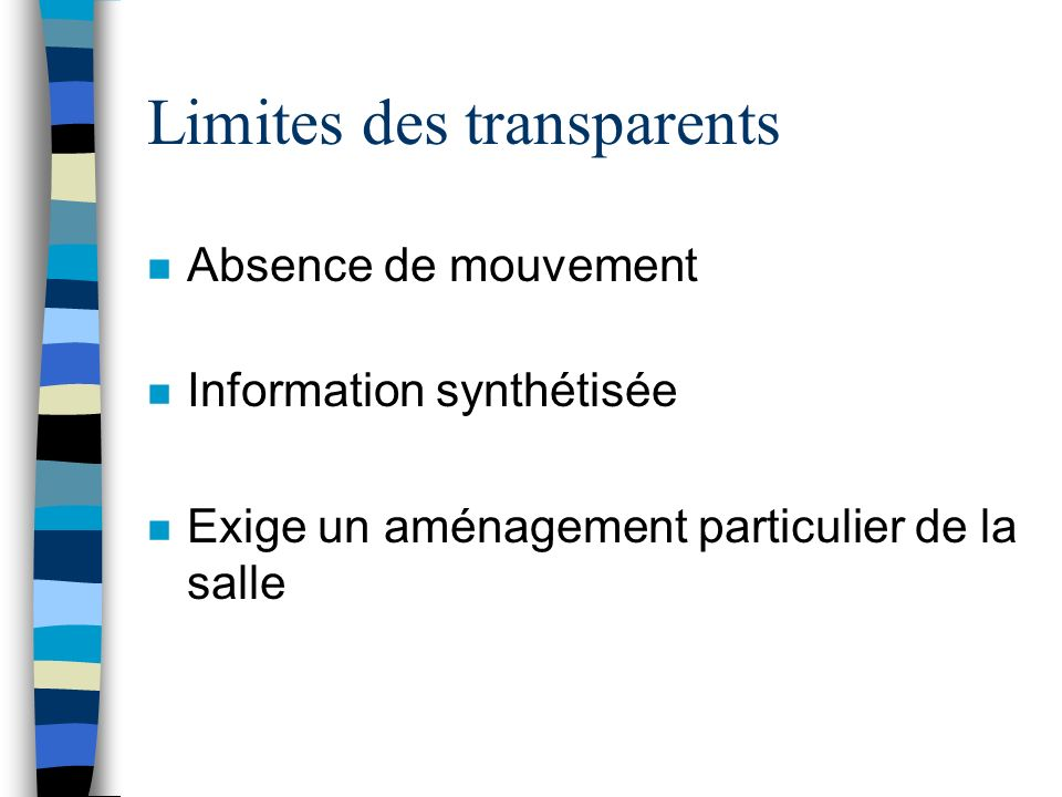 Limites des transparents