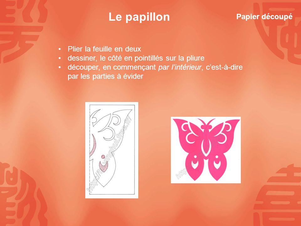 Le papillon Papier découpé Plier la feuille en deux