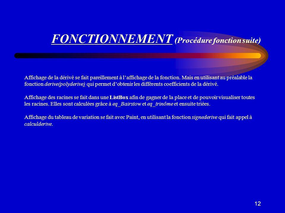FONCTIONNEMENT (Procédure fonction suite)