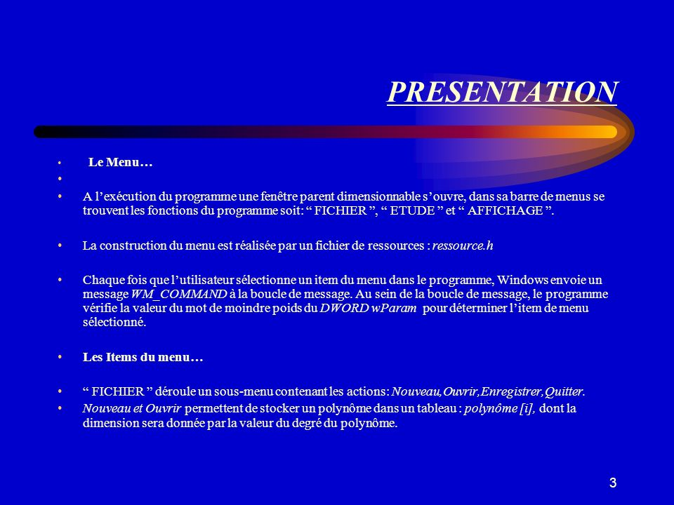 PRESENTATION Le Menu…