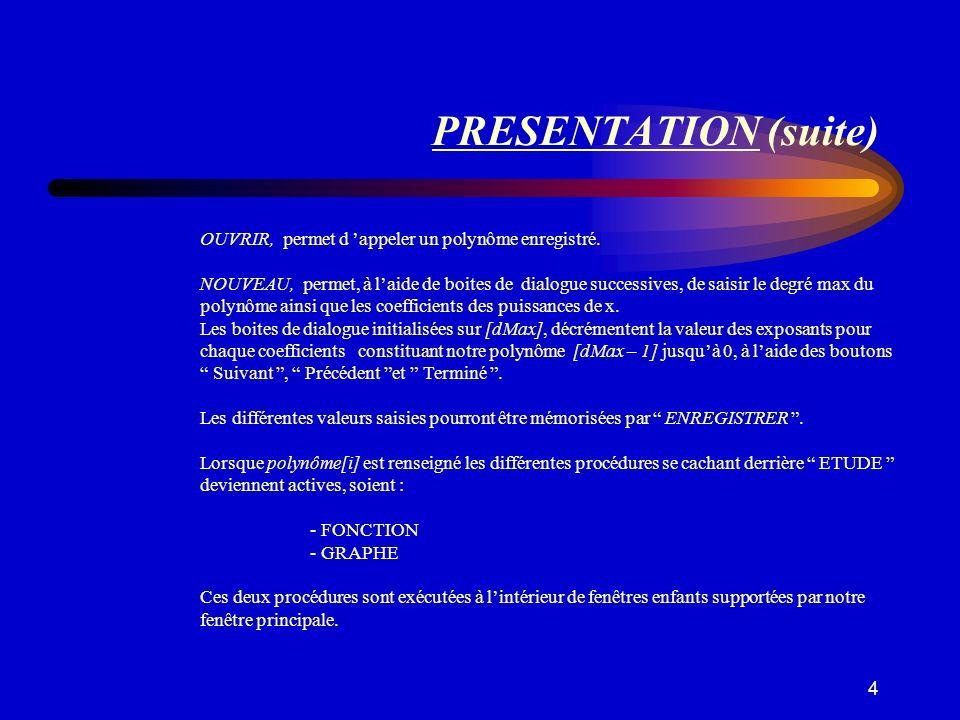 PRESENTATION (suite) OUVRIR, permet d 'appeler un polynôme enregistré.