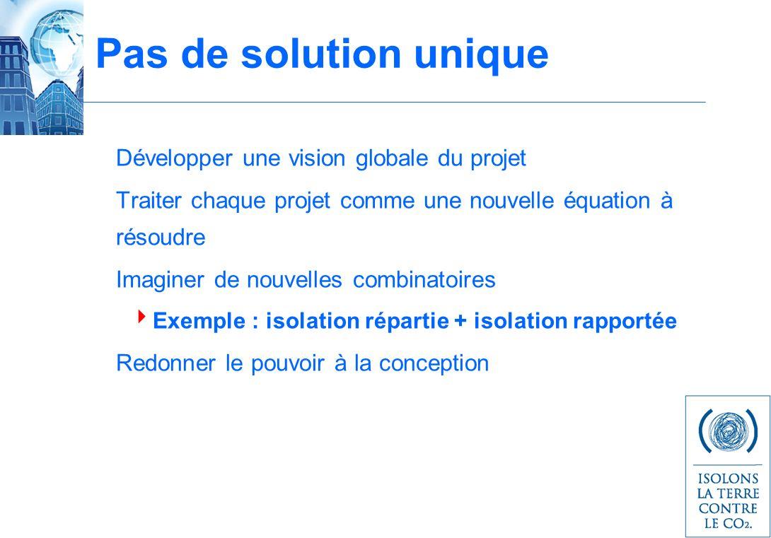 Pas de solution unique Développer une vision globale du projet