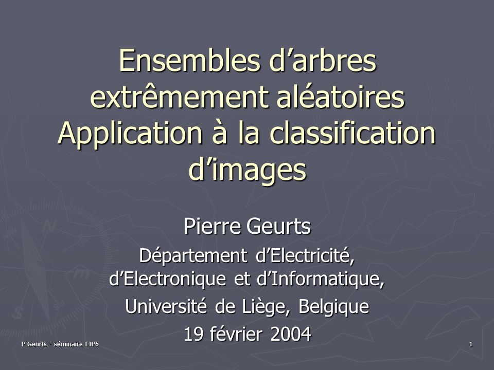 Ensembles d'arbres extrêmement aléatoires Application à la classification d'images